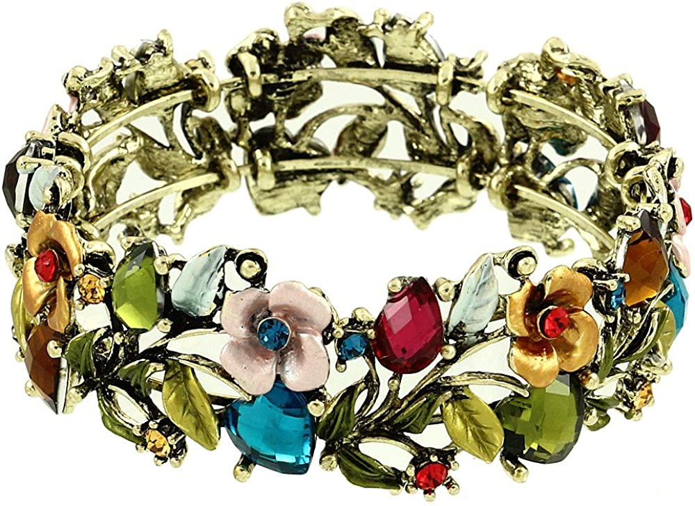 DianaL Max 71% OFF Boutique Flower Painting and Bangle Bracelet Cuff Crystal Max 41% OFF
