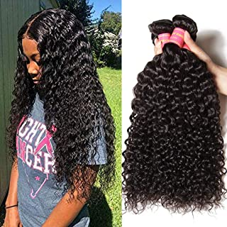 Sunber Brazilian 100% Unprocessed Virgin Kinky Curly Human Hair Weave 3 Bundles Deep Curly Hair Extensions Mixed Length Natural Color (12 14 16inch)
