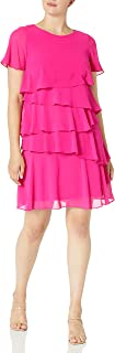 Jessica Howard womens Butterfly Sleeve Asymmetric Ruffle Dress Casual Dress
