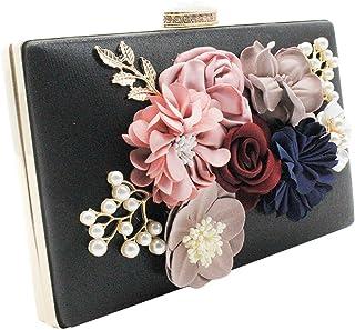 Wiwsi Bridal Pearl Beaded Design Evening Handbag Women Flower Dinner Clutch
