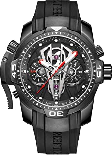 Mens Sport Mechanical Watches with Rose Gold Black Dial Automatic Watch Calfskin Rubber Strap RGA3591