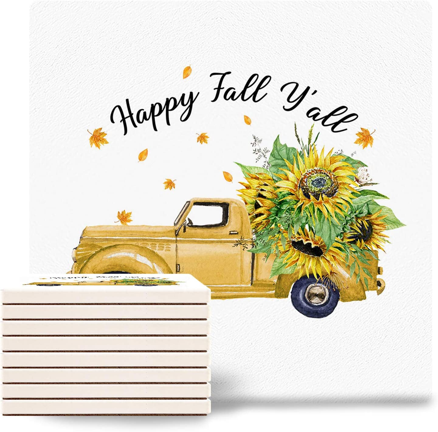 Set of 2021 Our shop most popular spring and summer new 8 Autumn Sunflower Absorbent Coasters w Ceramic for Drink
