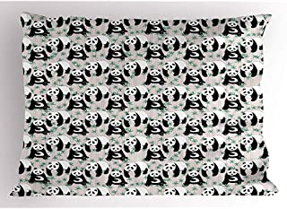 4 Piezas 18X18 Pulgadas Funda De Almohada Panda,Criaturas De Estilo De Dibujos Animados Con Palos De Bambú Y Hojas De Elementos De Vida Silvestre,Funda De Almohada Impresa King Size Estándar
