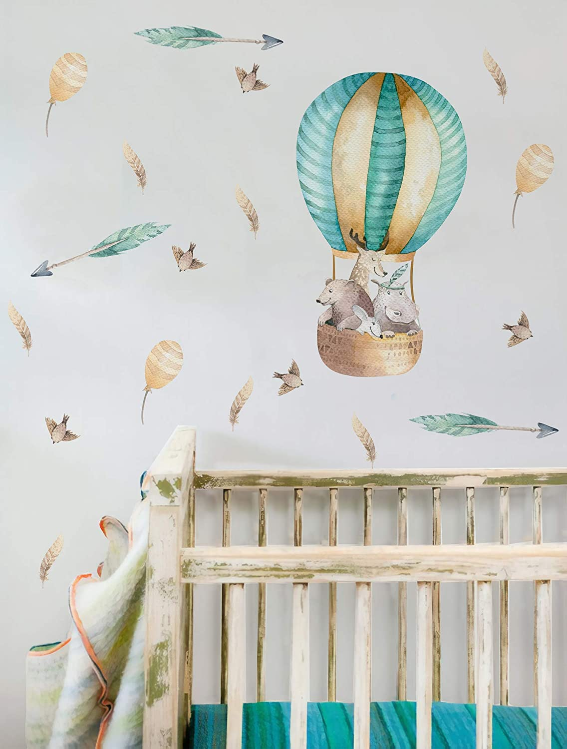 Murwall Hot Air Balloon Raleigh Mall Wall Limited price sale Decal Cute Animal For Sti Kids
