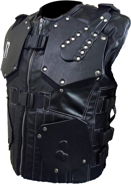 The Rock Biker Vest for Men in Faux Leather Dwayne Johnson Tactical Hand-Stitched Vest (XXS-5XL)
