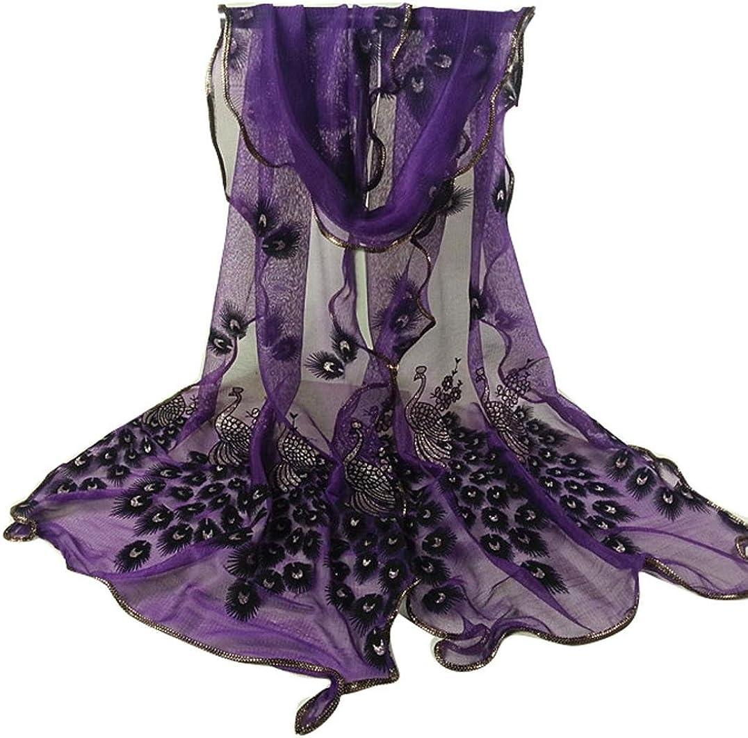 Qingfan Lightweight Scarves: Fashion Stylish Soft Silk Chiffon Scarf Wrap Flower Embroidered Shawl For Women Girls