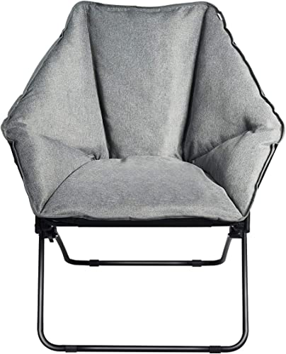 2021 Giantex Folding Saucer Chair, Padded Moon Round Chair with Sturdy Iron Frame, Oversized Leisure Camping Chair for Napping wholesale Relaxing, Portable outlet online sale Hexagon Dish Chair for Living Room Bedroom Office (Gray) outlet sale