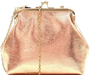 Kiss-Lock Framed Metallic Party Clutch Shoulder Bag with Chain Crossbody Strap
