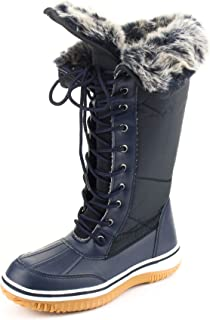 CALICO KIKI Women's Mid Calf Snow Boots - Insulated Sherpa Fur Lining Collar Padded-Water Resistant Lace up Winter Boots