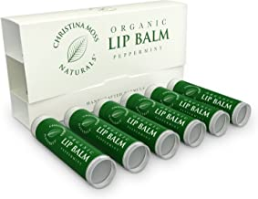 Lip Balm - Lip Care Therapy - Lip Butter - Made with Organic & Natural Ingredients - Repair & Condition Dry, Chapped, Cracked Lips - 6 Pack, Peppermint - Christina Moss Naturals