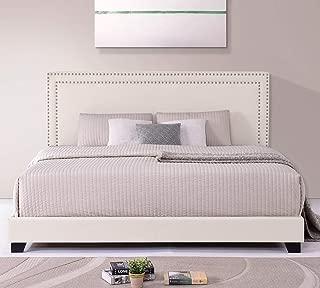 LZ LEISURE ZONE King Bed Frame Upholstered Platform Mattress Foundation with Wooden Slat Support & Nailhead Headboard (Beige, King)