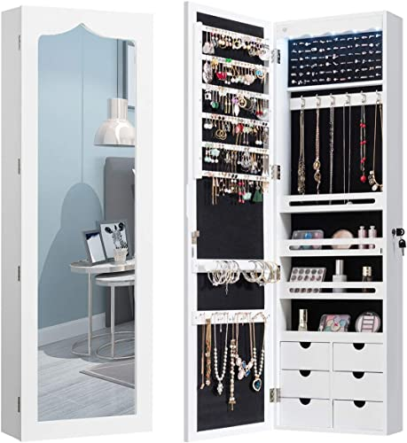 lowest CHARMAID 5 LEDs Mirror Jewelry Armoire Wall Door Mounted, Lockable Jewelry Cabinet with 6 Drawers wholesale and Full Length Mirror, Large Capacity Jewelry discount Organizer Storage Jewelry Box with Drawers (White) online sale