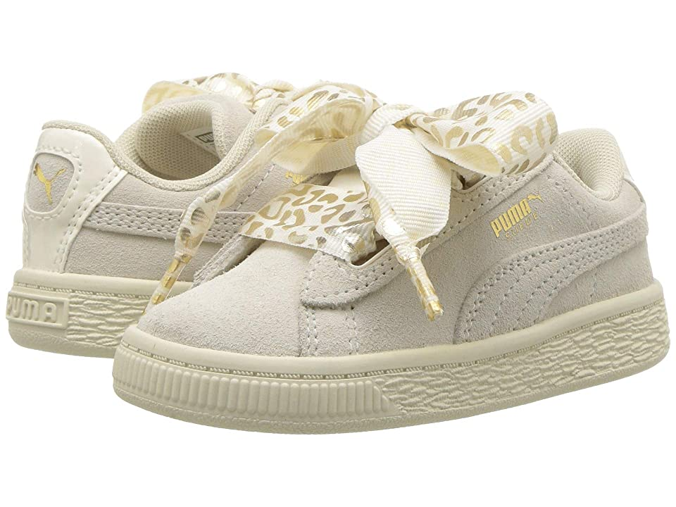 Puma Kids Suede Heart Athluxe Inf (Toddler) (Whisper White/Puma Team Gold) Girls Shoes