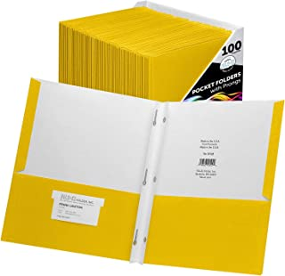 $74 » Sponsored Ad - FILE-EZ Two-Pocket Folders with 3-Prong Fasteners, Yellow Color, 100-Pack, Durable Textured Paper, Matte Fi...