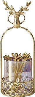 カラフルなガラスバスケットデスクトップの収納バスケット家のナイフ、フォーク、スプーン、瓶のセットメタル装飾2個 (Color : A)