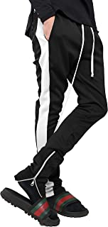 Mens Stripe Track Pants Skinny Fit Stretch Trouser Elastic Jogger