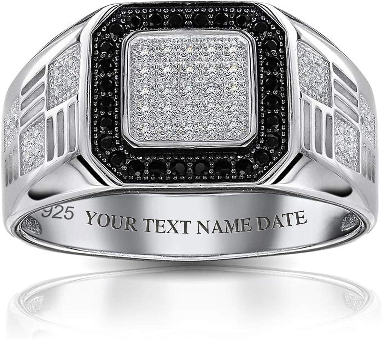 贈与 Mens Geometric 925 Sterling Silver お得なキャンペーンを実施中 White Square Pave Halo Micro