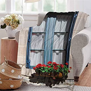 Summer Comforter Blanket Mediterranean Style Window with Open Window Shutters Image French Urban Life Decor Blue Grey Bedroom Dorm Sofa Baby Cot Beach W40 xL60