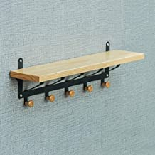 Wall Coat Rack Clothes Hat Hanger Holder Hooks Shelf Wood Multifunctional Creative Style, 2 Colors, 55x12x16CM cxjff (Colo...