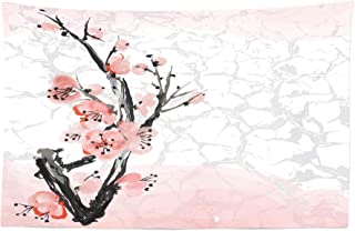 Lunarable Floral Tapestry, Japanese Cherry Blossom Sakura Tree Branch Soft Pastel Watercolor Print, Fabric Wall Hanging Decor for Bedroom Living Room Dorm, 45