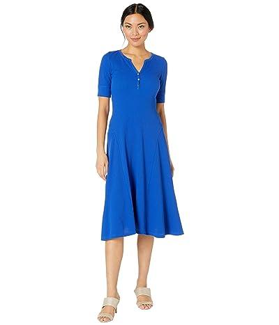 LAUREN Ralph Lauren Waffle Knit Fit-and-Flare Dress (Blue Glacier) Women
