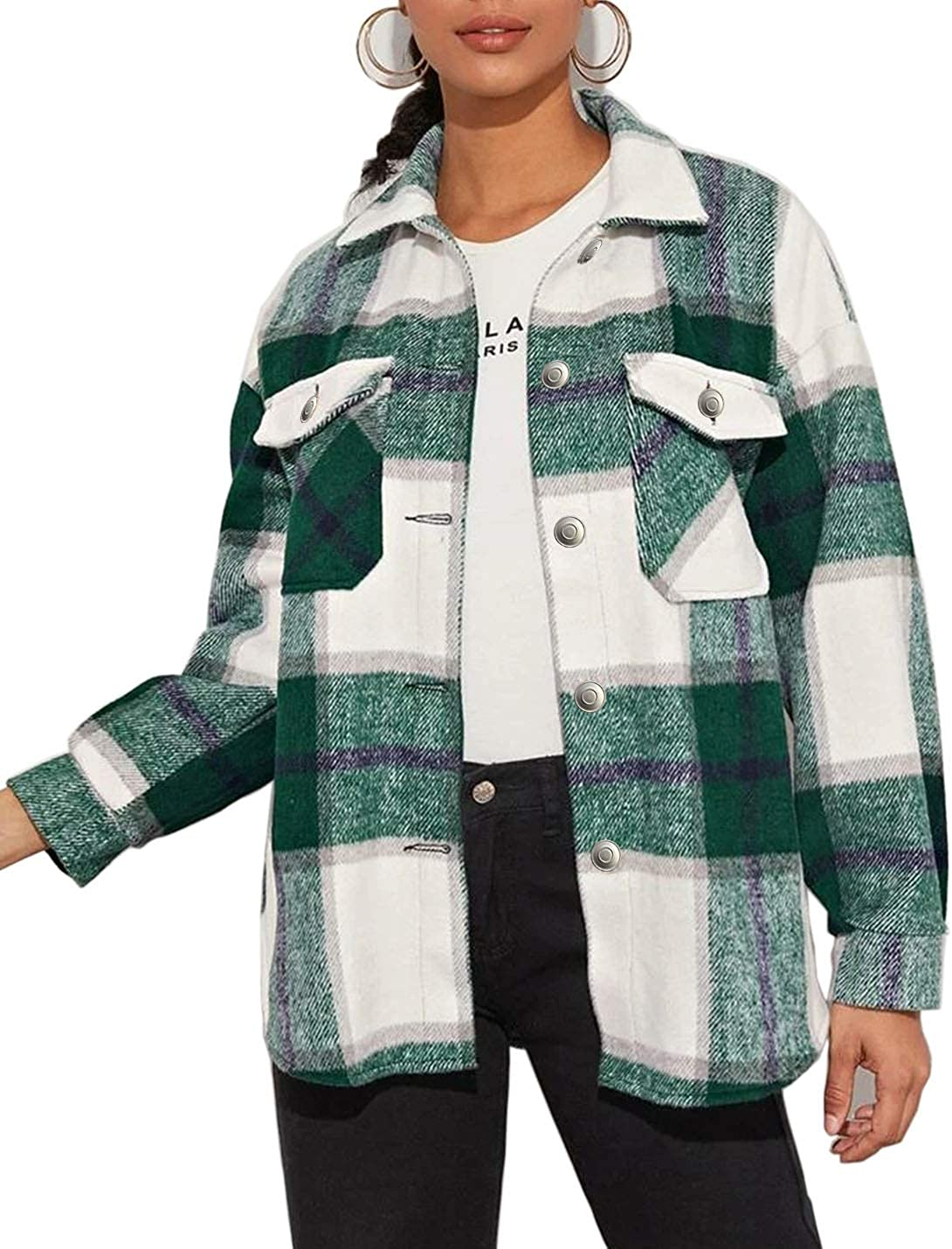 Gacaky Womens Wool Blend Plaid Front Button Casual Lapel Collar Jacket Outwear