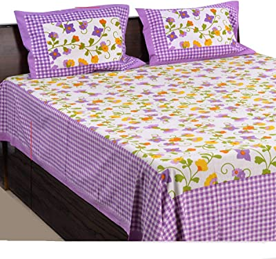 American Indigo Cotton Rajasthani Bedsheet (Purple)