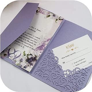 White Blue Laser Cut Tri Fold Wedding Invitation Cards Kit Personalized Pocket Invite,Light Purple,Whole Set