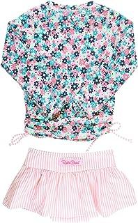RuffleButts Little Girls Cropped Peplum Tankini 2 Piece Swimsuit w/Ruffles