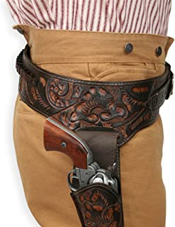 Historical Emporium Men's Right Hand Tooled Leather Western Gun Belt and Holster .44/.45 Cal