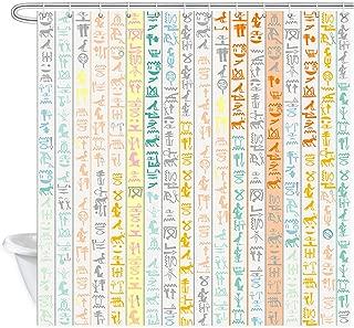 DYNH Egyptian Shower Curtain for Bathroom, Ancient Egypt Hieroglyphics Alphabet Symbols Bath Curtains, Waterproof Fabric Showre Curtain 12PCS Shower Hooks, 69X70 in Valance