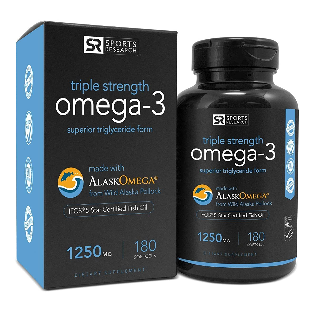 小さな音楽家マットレスOmega-3 Fish Oil 1250mg (Triple Strength) 180 gelcaps| Contains the highest levels of triglyceride Omega-3s EPA & DHA per softgel | Best Omega support for a Healthy Heart - IFOS 5 Star Certified by Sports Research