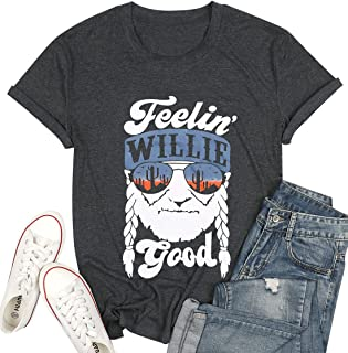 MOUSYA Women T-Shirt Top, Feelin Willie Good Letter Printed Graphic Shirt Top Casual Short Sleeve Tee Shirt