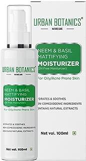 UrbanBotanics® Neem & Basil Mattifying Moisturizer - Oil Free Moisturizer For Face - For Oily & Acne Prone Skin - 100ml