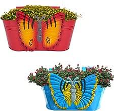 Gadgets Appliances Wonderful Colour Butterfly, Railing Planter, Flower Pot, Wall Planter, Metal Planter, Balcony, Garden Planter Basket (Multicolour) Set of 2