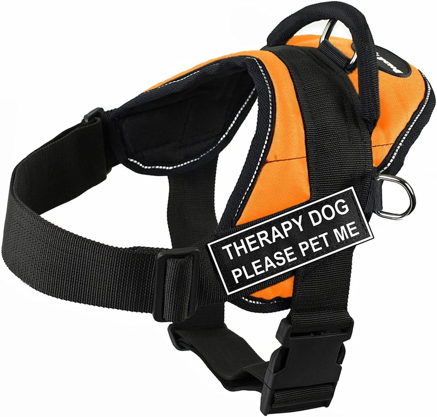 Dean & Tyler DT Fun Therapy Dog Please Pet Me Harness with Reflective Trim, XSmall, orange