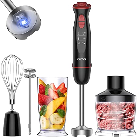 VAV SEA 1000W 5-in-1 Multi-function Immersion Hand Blender, 12-Speed Stick Blender with 500ml Chopping Bowl, Milk Frother, Egg Whisk, 600ml Beaker for Puree Infant Food/Smoothies/Soups, BPA-Free