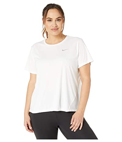 Nike Dry Miler Top Short Sleeve (Size 1X-3X) (White/Reflective Silver) Women