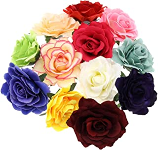 12-farbige Künstliche Rose Blume Haarnadel Haarspange Brosche für Hochzeiten Party