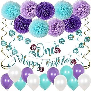 Hanakaze 人魚 誕生日 飾り付け セット 豪華27点 バースデー 飾りペーパー フラワー、HAPPY BIRTHDAY誕生日ガーランド、人魚1歳ガーランド、渦巻、風船 女の子 男の子