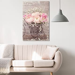 wall26 - Canvas Wall Art - Vintage Style Pink Roses and White Flowers - Giclee Print Gallery Wrap Modern Home Decor Ready to Hang - 24x36 inches