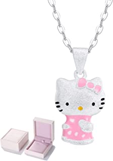 095d66d09 UUONLY Hello Kitty Necklace, Kitty Cat Necklace-Pink Cat Pendant Necklace  Silver Plated Cute