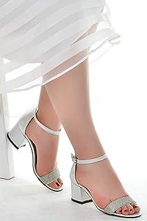 Ayakland 038-03 Taşlı 5 Cm Topuk Bayan Sandalet Ayakkabı Gümüş
