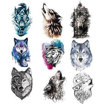 9 Piezas Tatuaje Temporal de Lobo Para Mujeres Hombres,Etiqueta Engomada del Tatuaje Temporal de Lobo para Mujeres Hombres Moda Cuerpo Arte Adultos Impermeable Mano Falso Tatuaje (21 * 15 Cm): Amazon.es: Belleza