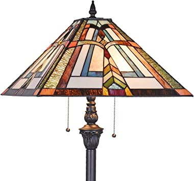 Artzone Tiffany Style Floor Lamp, Handmade Antique Mission Stained Glass Floor Lamp for Living Room and Bedroom, 2-Light W18