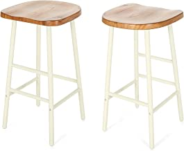 Christopher Knight Home 307504 Jean Bar Stools, Pine Veneer, Iron Frame, Naturally Stained Seats with White Base (Set of 2)