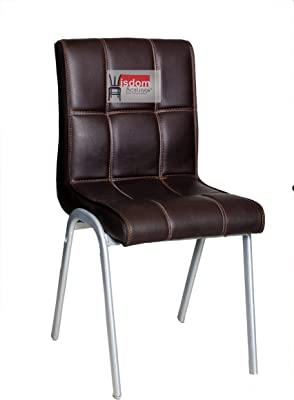 Shree Hari Wisdom Seating Chromium Steel Visitor Office and Home Chair (Standard Size, Brown)