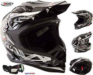 con occhiali approvato ECE per fuoristrada Casco da motocross per bambini VIPER-3GO X10-K colore: verde enduro ATV quad