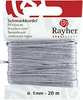 Rayher 8947325 Schmuckkordel, grau, ø 1 mm, SB-Karte 20 m