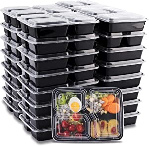 THALIA 48 Pack Meal Prep Containers 3 Compartment with Lids Bento Box Microwave Food Storage Containers Disposable Takeout Deli Containers Stackable Reusable Microwaveable & Dishwasher Safe